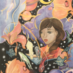 """Flowers, planets, clouds and ladybugs in the foreground as well as middleground. Girl with magical book. A fishing pole is coming out of the book as a cat jumps """" Connected to the pole is a beta-fish that weaves its fin into the girl's hair. A frog jumps out from the middleground and the negative space is full of stars."""