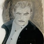 A black and white painting of a man's face with a mustache.
