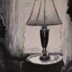 A painting of a child and adult male confronting each other, eye-to-eye, in the light from a window with a lamp in-between.