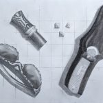 A black and white pencil rendering of a pocket knife, a set of dice, a animal caller and woodland printed sunglasses.