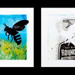 In the first image, a large silhouetted bee hovers in the foreground of a green meadow and blue sky; in the second image, the bee's empty silhouette is visible alongside a representation of a bottle of Roundup weed killer.