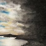 Landscape drawing with a body of water on the left and blue sky, next to darker clouds on the right.