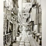 A picture of a peaceful alley inside a bustling city with eateries and cafes.