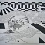 Black and white drawing of fish in a fish bowl, patterns and a UFO.