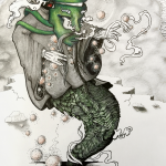 A masked character with a robe, gloves, and serpent-like body floating above a crack in the foreground, glowing orbs protrude from it's sleeves and there are grey clouds in the background.