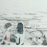 A drawing of two people looking at fires in a distance in a landscape.