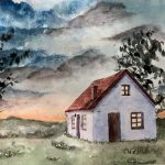 A watercolor Painting of a white house with red roof in a field with trees silhouetted against a cloudy sky at sunset.