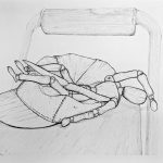 An ink drawing of a knife and wooden doll making a fainting gesture inside of a concaved baseball cap on the seat of a chair.