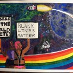 """Two people standing in front of a rainbow in a galaxy with two spaceships. Holding signs that say """"Workers of the World Unite"""" and """"Black Lives Matter""""."""