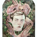 An arch shaped watercolor painting featuring a portrait of a young man in the foreground, surrounded by hands in various positions and laurel leaves, with dark abstract background.