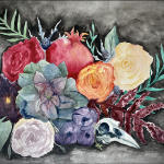 A vibrant bouquet of flowers and greenery with a large succulent and bird skull included on a dark washed background.