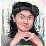 A self portrait drawn in colored pencil, of a girl wearing her headphones lopsided while also having her hands under her chin.