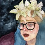 A watercolor self portrait painting of the artist: a white woman with blonde and blue hair, white lilies sit atop her head, she is crying, tears streaming down her face, she is wearing a maroon sweater and the background is dark grey.