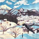 A painting of a snowy scene with buildings in the foreground and purple mountains in the background.