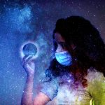 Young girl holding an orb in the midst of the galaxy.