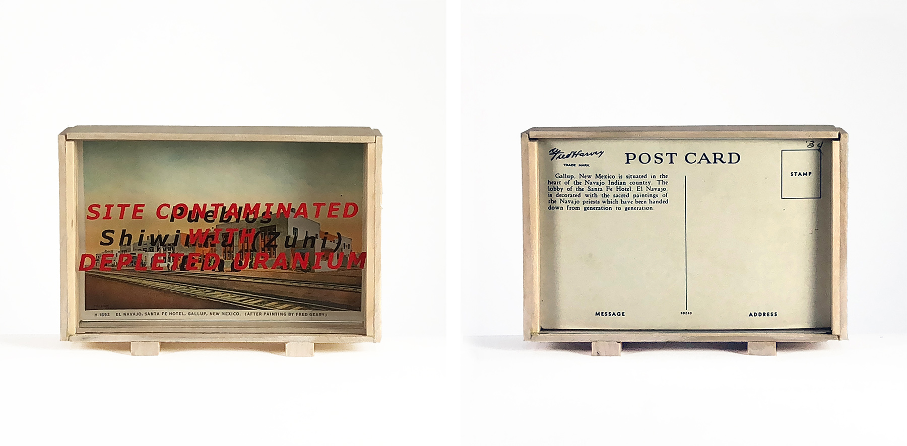 Front and back views of a box containing a vintage postcard depicting a hotel. The image is overlaid with black and red text.