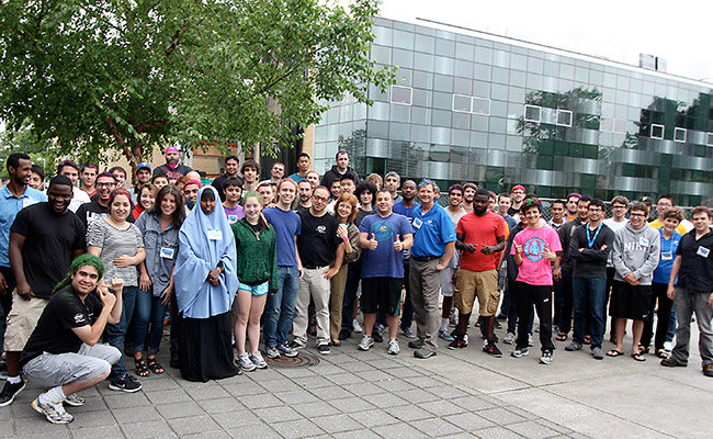 Engineering students standing in a group outside