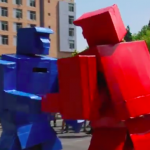 A green robot and a red robot facing off.