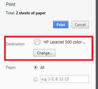 In the print dialog, click the Change button under Destination