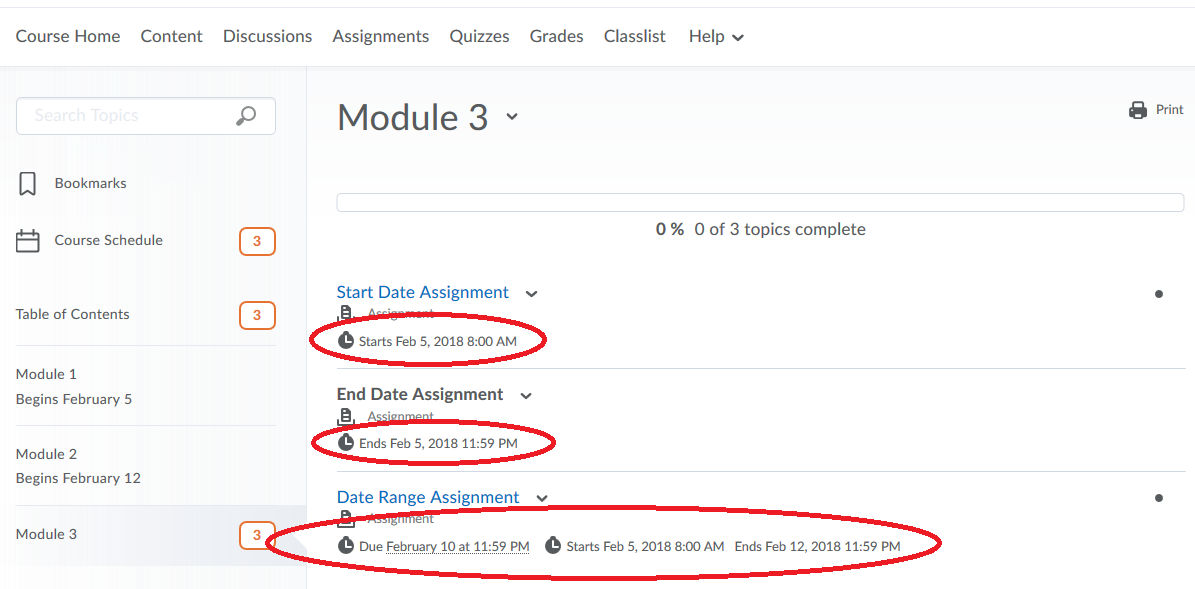 image showing assignments listed within the Content area of the course. Under the title of each assignments it shows the Start, End and Due Date for each folder.