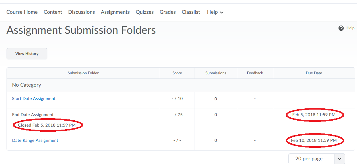 image showing Assignments area of a course with three assignments listed, one using a start date, one with and end date, and one with a date range.