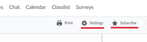 D2L Calendar Settings, Settings and Subscribe options are highlighted