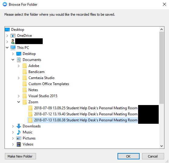 Window showing default location of folder that Zoom recording files will be saved