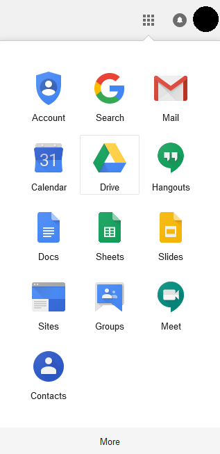 Google Apps menu from PCC email showing Drive option