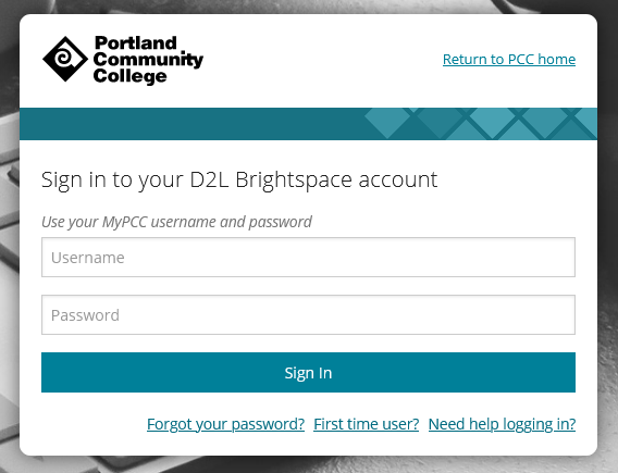 image showing the login page prompting for a MyPCC username and password