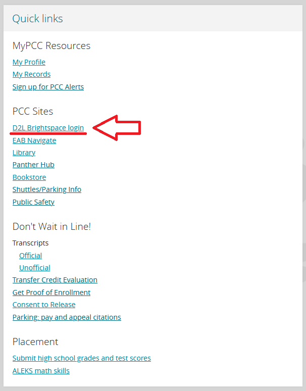 Image highlighting D2L Brightspace Login link listed within the Quick Links box of the MyPCC Home tab.