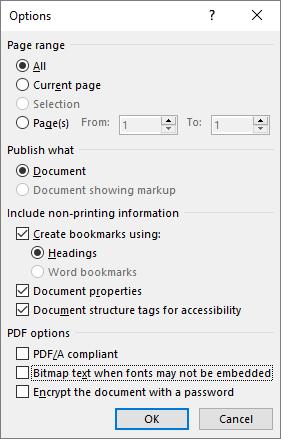 PDF Options window