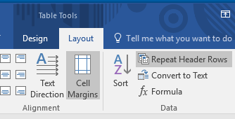 Layout tab under the Table Tools tab