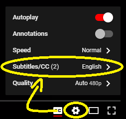 Close Captioned options within the youtuble player