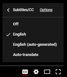 Close Captioned settings which include languages and whether captions are autogenerated or applied by uploader