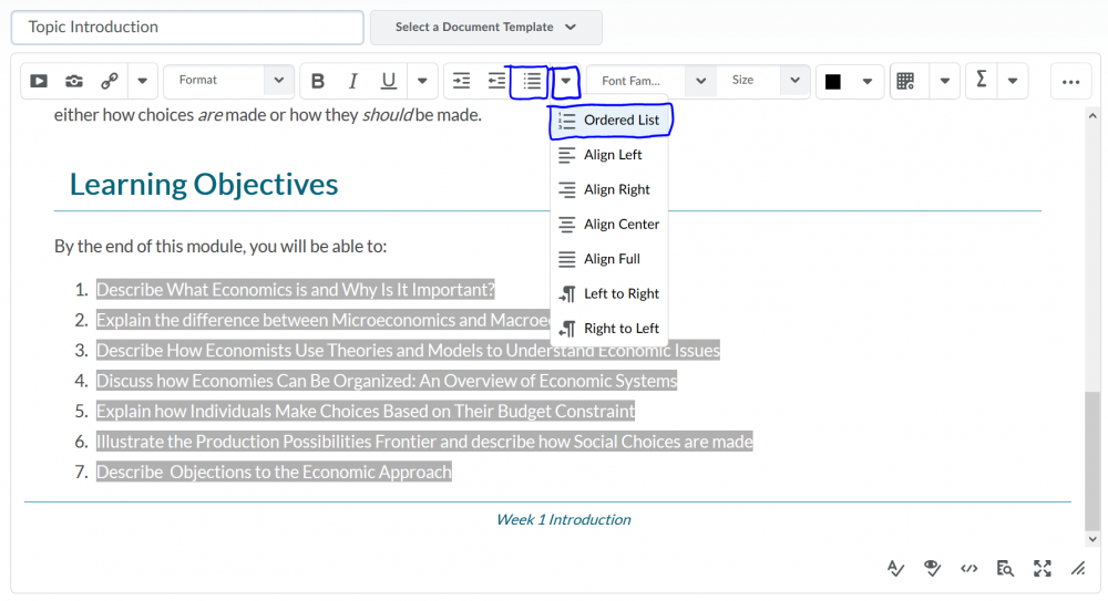 An image showing a list of Learning Objectives. The objectives are selected and the buttons on the toolbar for bulleted list and ordered lists are identified.