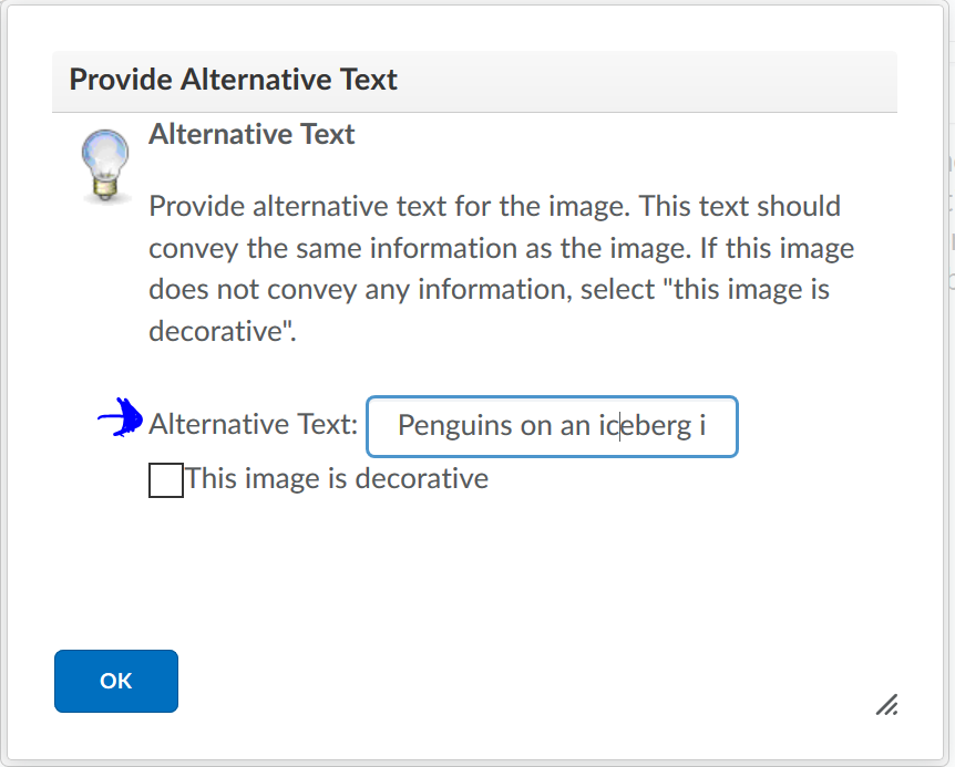 An image of the Provide Alt text winow with an arrow pointed at the field for entering the Alternative text.
