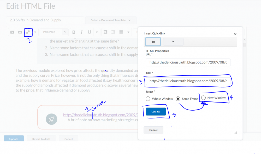 An image that conveys the steps to edit a link in the D2L HTML editor.