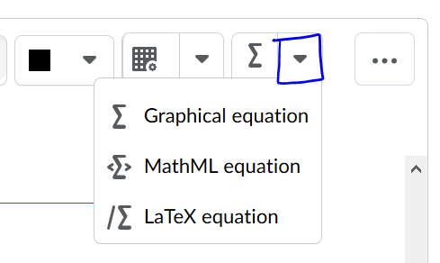 An image that shows the options for a graphical editor, MathML editor, or LaTex editor.