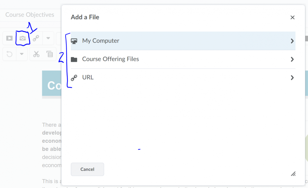 An image of the Add a File window for finding an image on your computer, in the course offering files, or by URL.