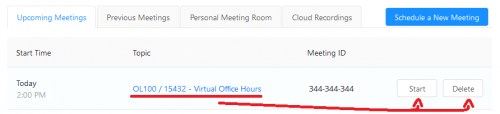 Image showing My Meetings page with Start and Delete buttons for the meeting created in the previous steps