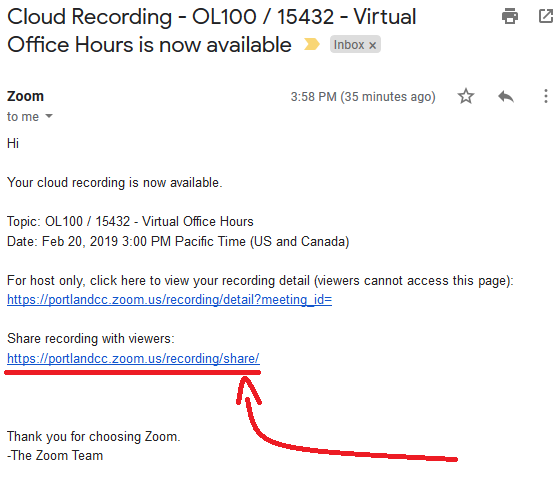 Image showing a copy of the email you receive from Zoom when a recording has processed and is ready to share
