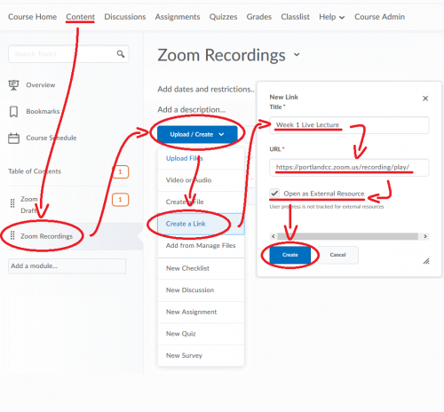 Image showing how to create a link within a Content module for your Zoom recordings. Create, Link, insert title and URL, set as external resource, click create.