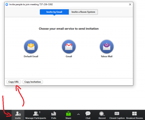 Image showing Invite window, accessed by clicking the Invite button within a Zoom Meeting Room. You can click Copy URL to automatically copy the room URL to your clipboard, which can then be pasted into an email