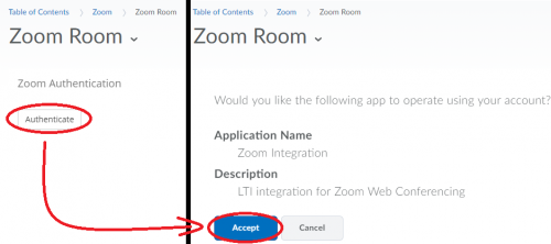 Click the Authenticate option and then click the Accept button to connect your D2L Brightspace account to Zoom
