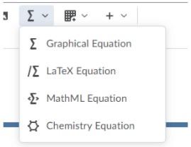 Equation editor options including graphical equation, LaTeX equation, MathML equation and Chemistry equation.