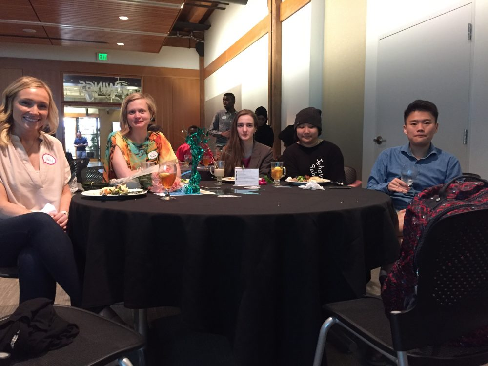 International students and advisor at celebration
