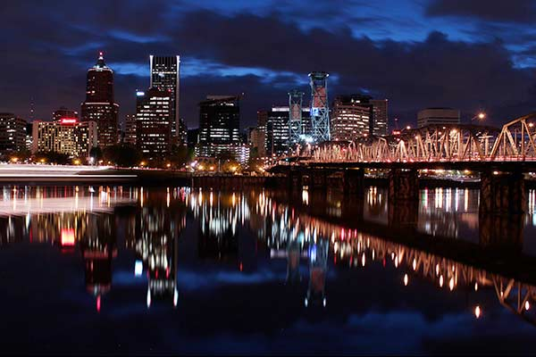View of downtown Portland at night