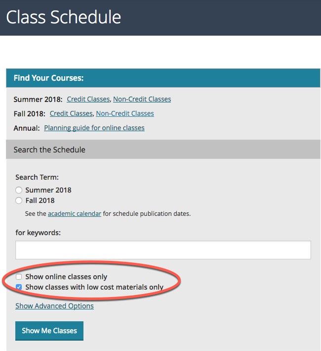 "Screenshot of Class Schedule search with ""Show classes with low cost materials only"" checked"