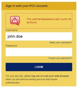 PCC Login Not Found
