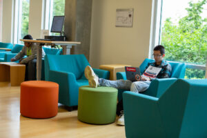Students in Comfortable Seating at the Southeast Library